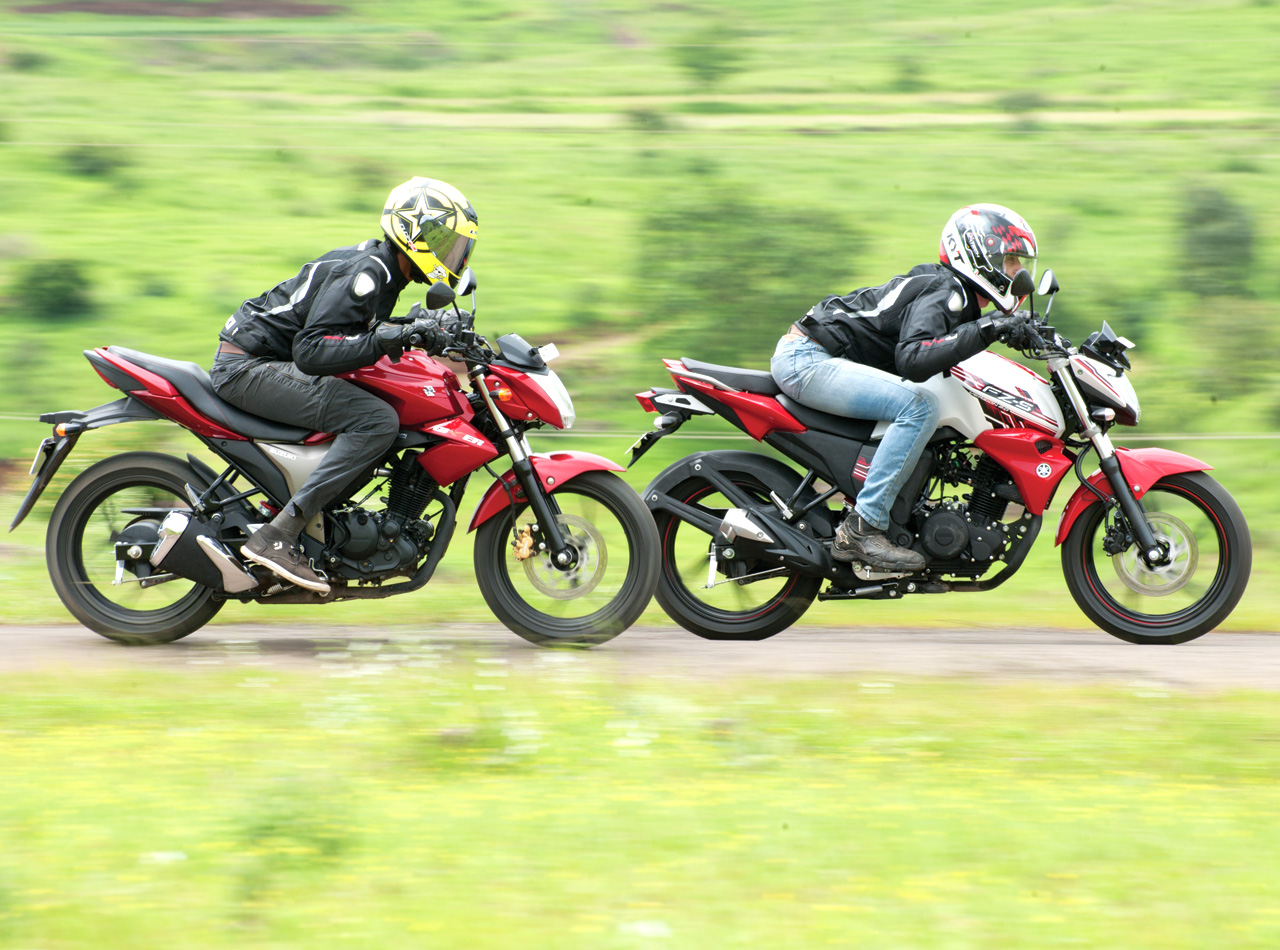 Suzuki Gixxer Vs Yamaha Fz S V2 0 Comparison Autocar India