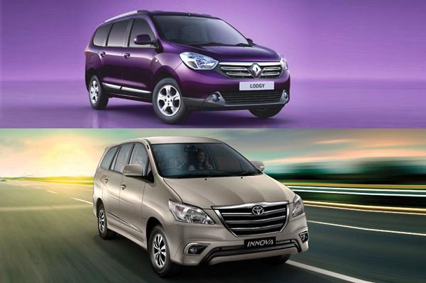 renault lodgy vs toyota innova price and specifications comparison autocar india. Black Bedroom Furniture Sets. Home Design Ideas