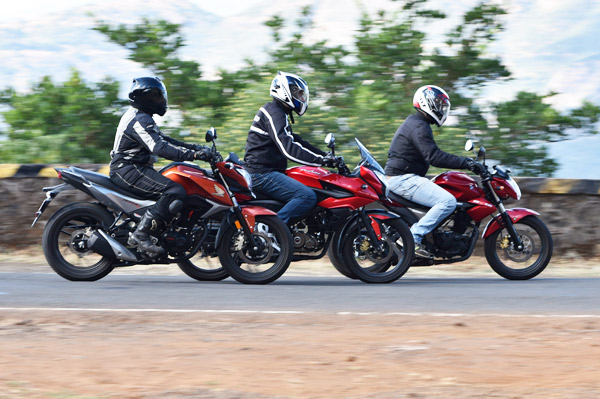 Honda CB Hornet 160R vs Suzuki Gixxer vs Pulsar AS 150 comparison - Autocar India