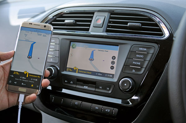 Phone apps such as this one for navigation enhance functionality of infotainment system.