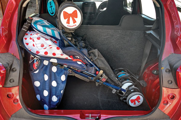 The 300-litre boot swallowed this huge buggy meant for twins!