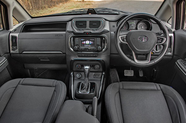 Still a bulky, upright dash but a far more interesting design this time. Quality at a new high for Tata and there's a good mix of colours and materials too.