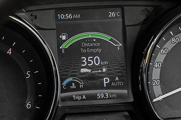 Colour MID screen is very informative, showing fuel data, drive modes, gear selection and more.