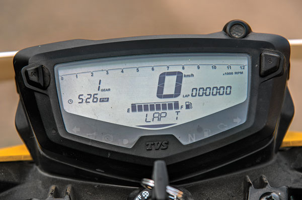Digital instrument cluster has a lap time mode and a top speed mode.