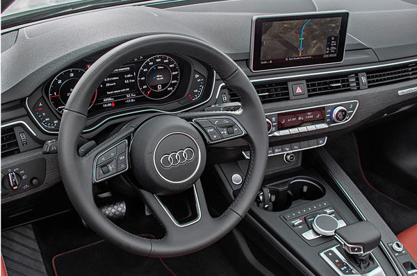 A5 Cabriolet's dash similar to A4. Audi's Virtual Cockpit a big hit with buyers.