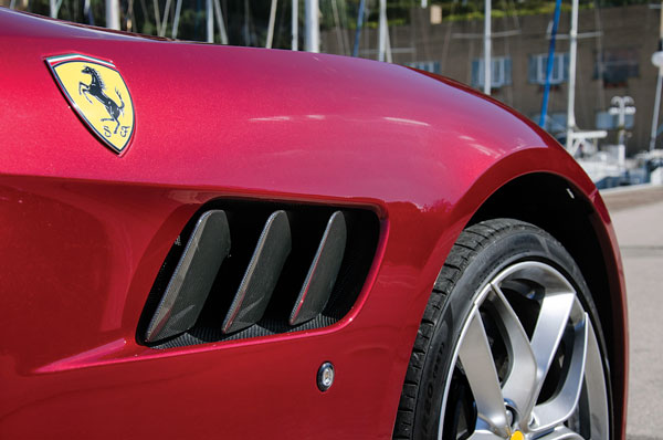 Carbon-fibre 'gills' look neat; note huge wheel arch.