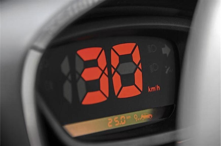 Kwid's digital speedo is clear and crisp; but no tacho.