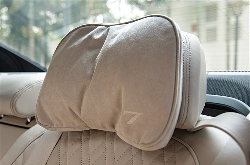 Rear headrests get a soft cushion as on the Merc S-class.