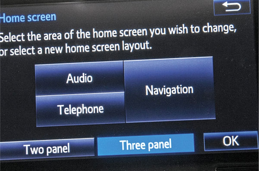 Infotainment unit's home screen display is customisable.