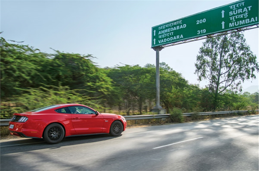 Before we knew it, the Mustang was across state borders, ...