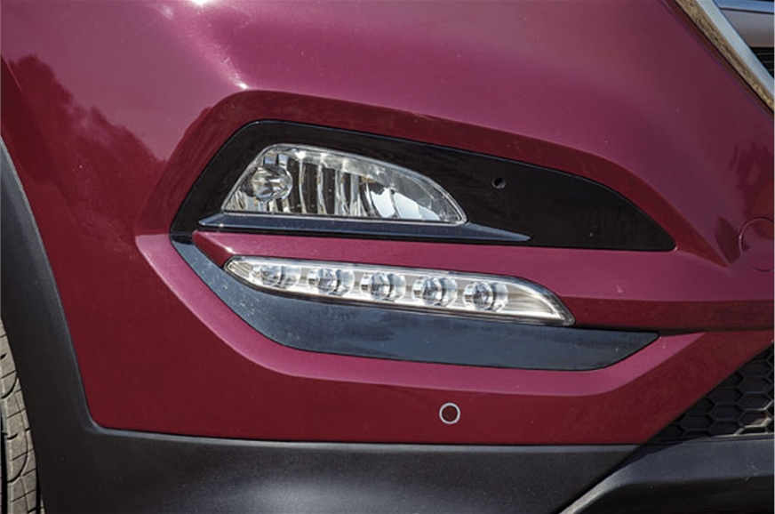 Bumper line stylistically splits the fog lamp and the LED...