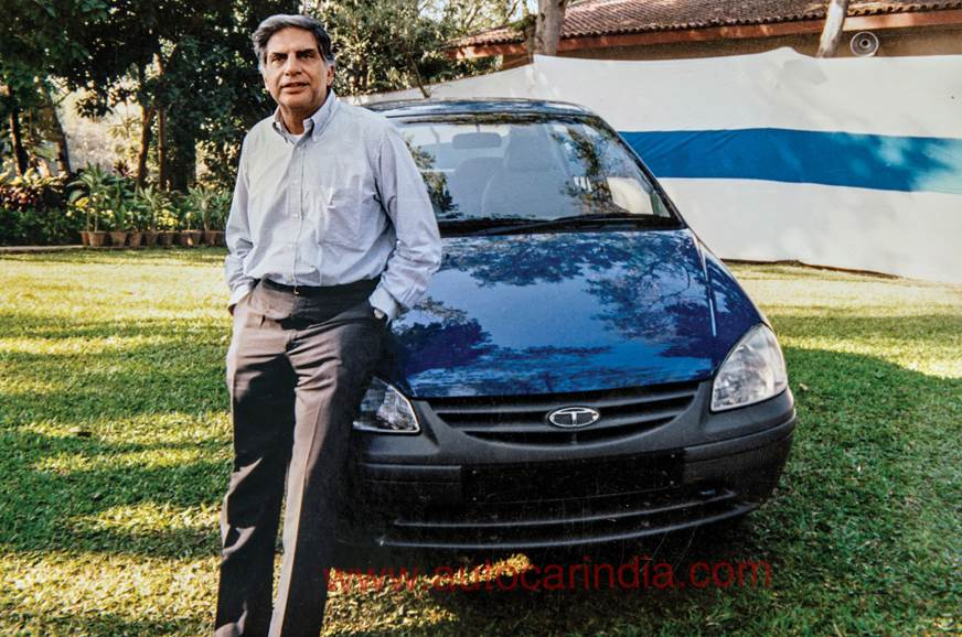Ratan Tata with the first-gen Indica