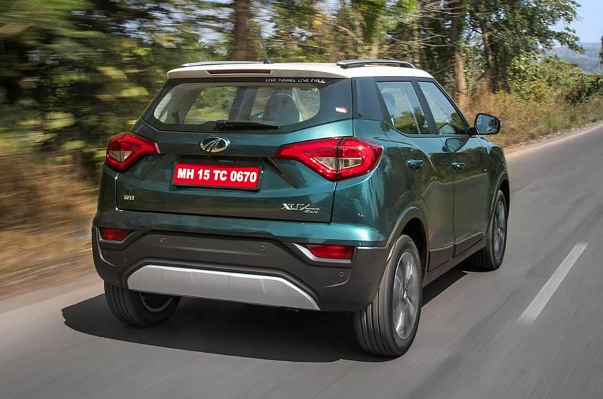 2019 Mahindra XUV300 rear action blue