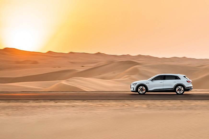 Audi e-tron review side action