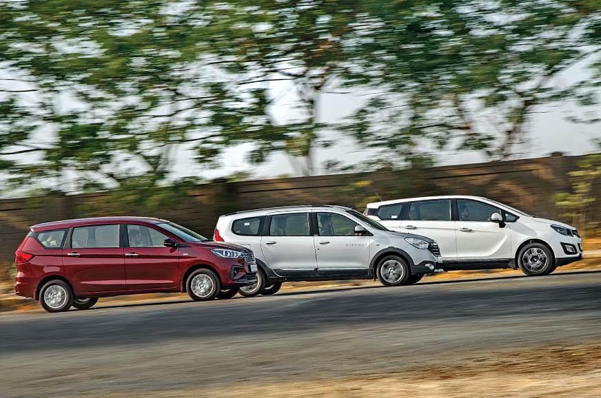 Maruti Suzuki Ertiga vs Renault Lodgy vs Mahindra Marazzo side action