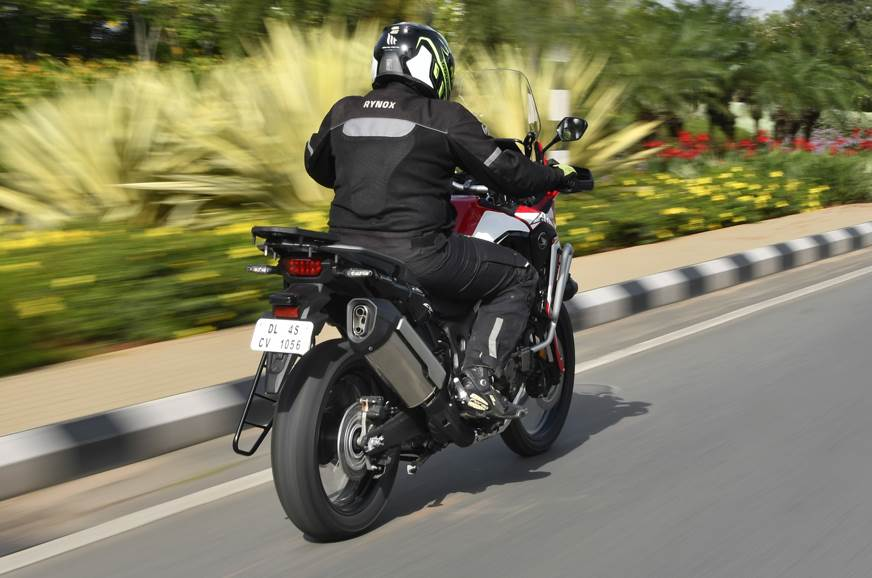 Honda Africa Twin DCT rear action on road