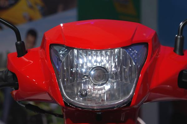 Crystal clear headlamp gets a halogen bulb for night vision.