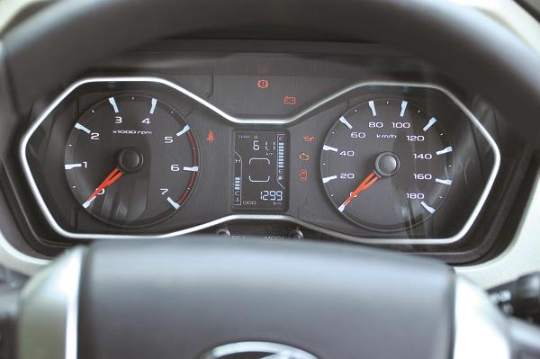Funky blue backlit dials look attractive and the silver surround looks classy. Central trip screen shows limited info.
