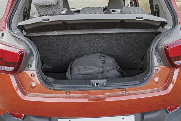 The 204-litre boot sufficient, but narrow aperture, high lip is inconvenient.