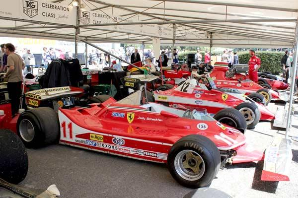 The cars you'll see... Those are Jody Scheckter, Gilles Villeneuve and Niki Lauda's Ferrari F1 cars.