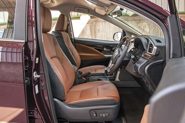 Powered front seats are comfortable and large with decent side bolstering.