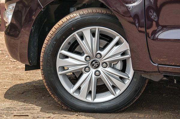 16- and 17-inch rims on Crysta larger than older Innova's 15-inch rims.