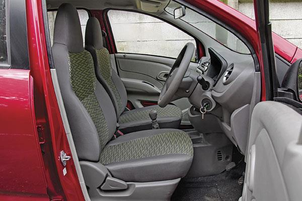 Front seats gets a long and flat seat base; cushion is soft; placement could be higher.