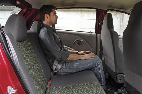 Two average-sized adults can fit one behind another. Headroom is great for the class.