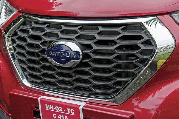 Datsun's signature front grille dominates the face of the Redigo.