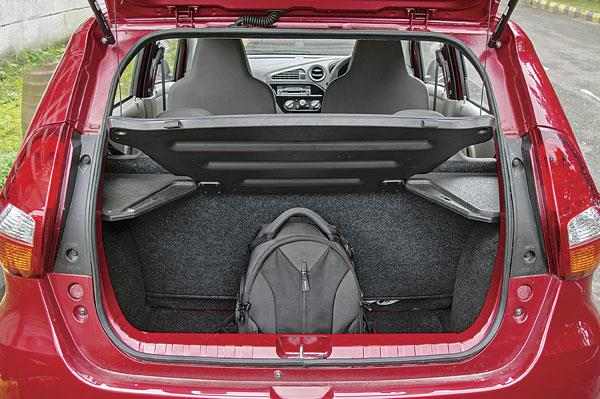 222-litre boot is small and it gets a high loading lip. Rear seat can be folded down too.