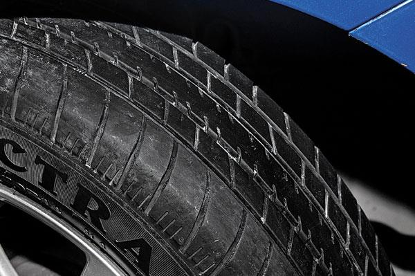 Thin tyres aren't great for corners, especially on rain-soaked roads.