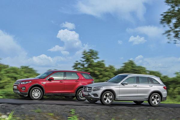 Mercedes GLC300 vs Land Rover Discovery Sport petrol comparison