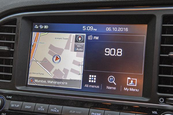 Touchscreen has a cool split-screen feature, showing maps and media simultaneously.