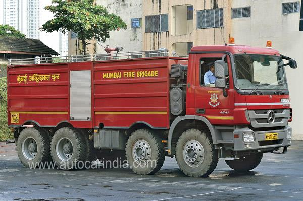 This Mumbai Fire Brigade Jumbo Tanker, made by Mercedes-Benz, can carry up to 18,000 litres of water.