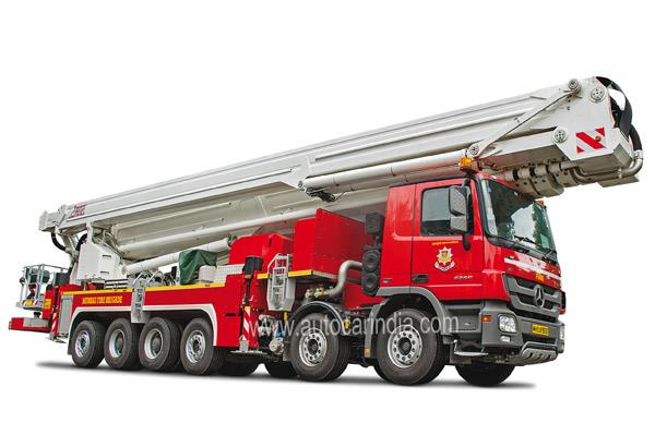The Mercedes-Benz Actros 6260, the giant of all Ladder Trucks, is 16.5-metres long and weighs 52 tonnes.