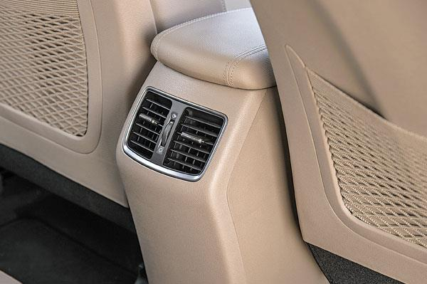 Rear air-con vents have no temp or blower controls. There are no charge points either.