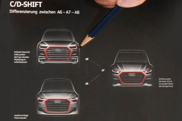 Next-gen Audi A6, A7 and A8 front fascia leaked