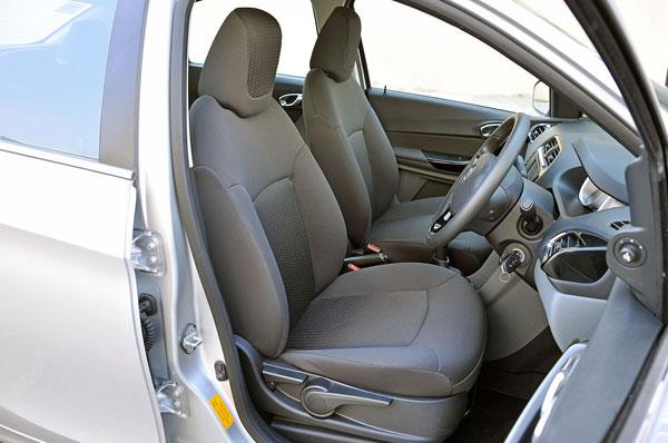 Front seats are large and supportive but cushioning is on the softer side.