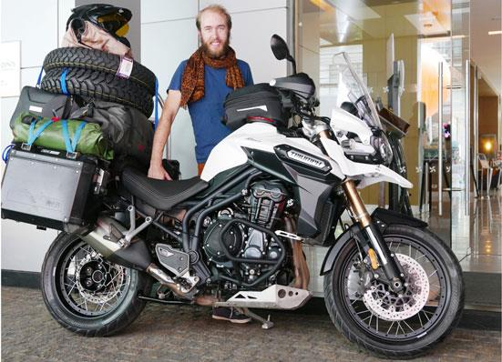 Australian rider travelling half the world on a Triumph