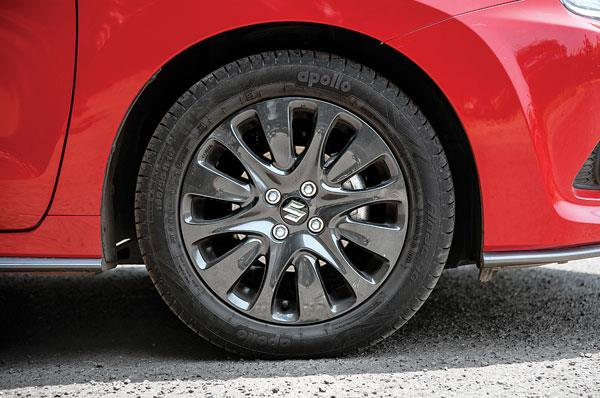 Blacked-out wheels are of same design and size as the regular Baleno.