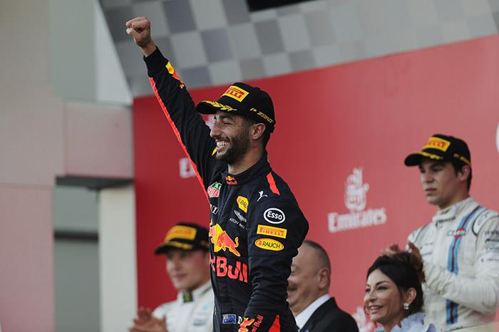F1 Baku: Ricciardo wins crazy race as Vettel and Hamilton clash