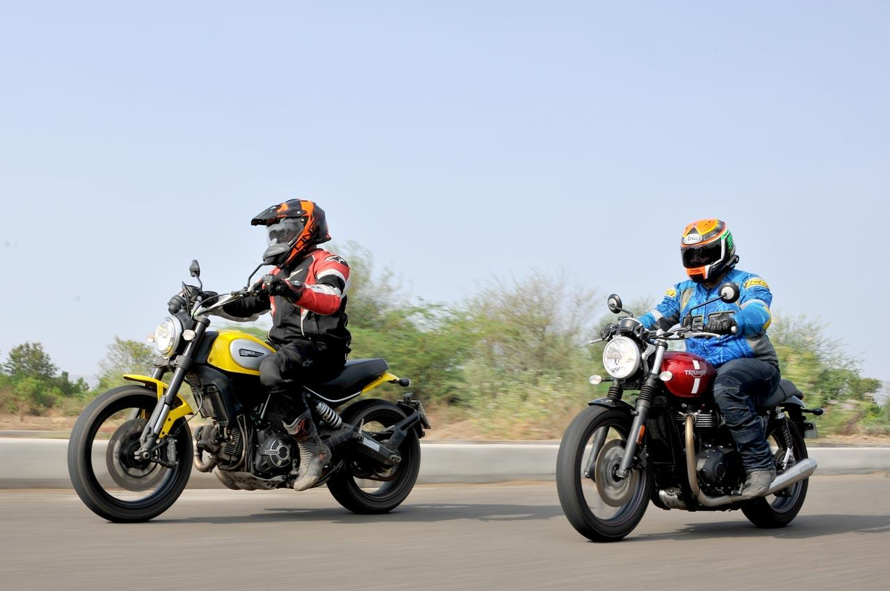 Triumph Street Twin vs Ducati Scrambler comparison photo gallery