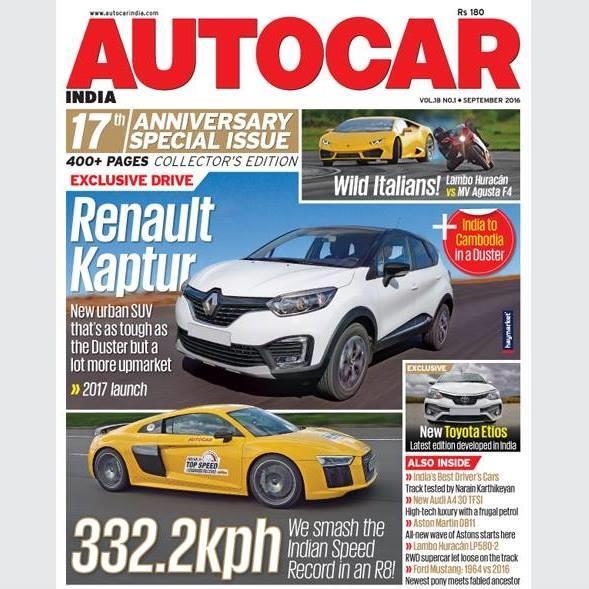 Autocar India Magazine Issue:  Autocar India: September 2016