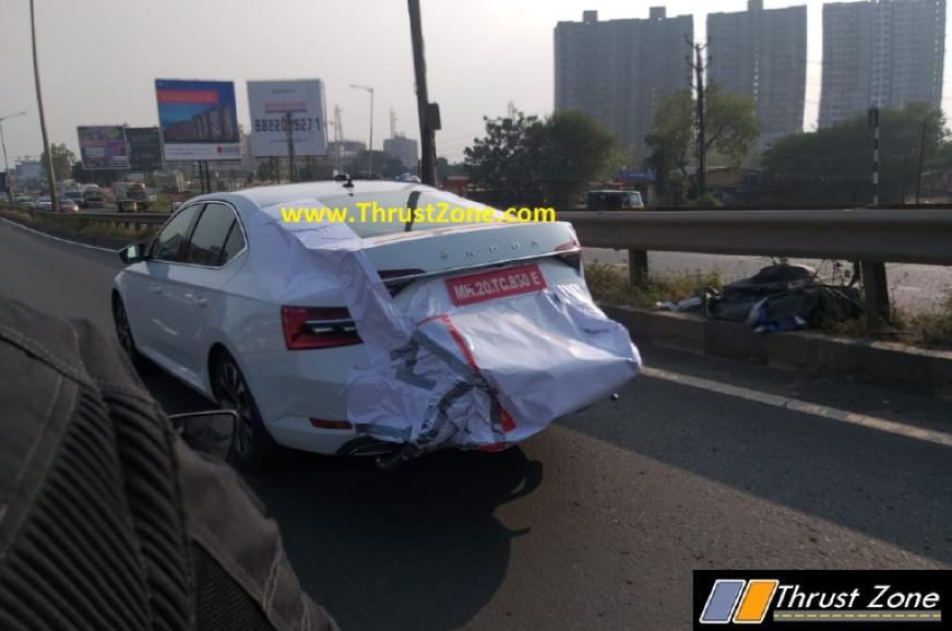 Skoda Superb facelift spied testing in India