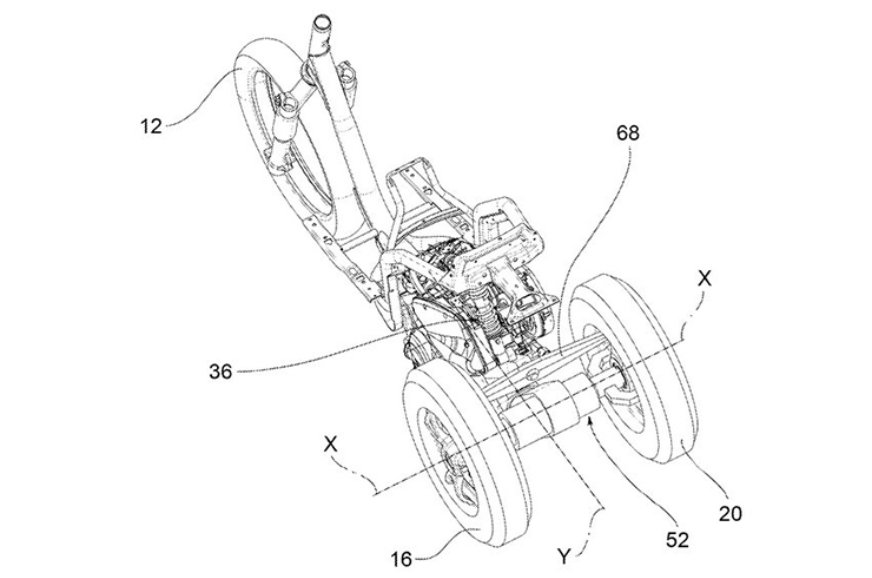 Piaggio patents trike with leaning rear wheels
