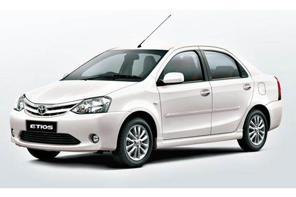 White Toyota Etios front-side view