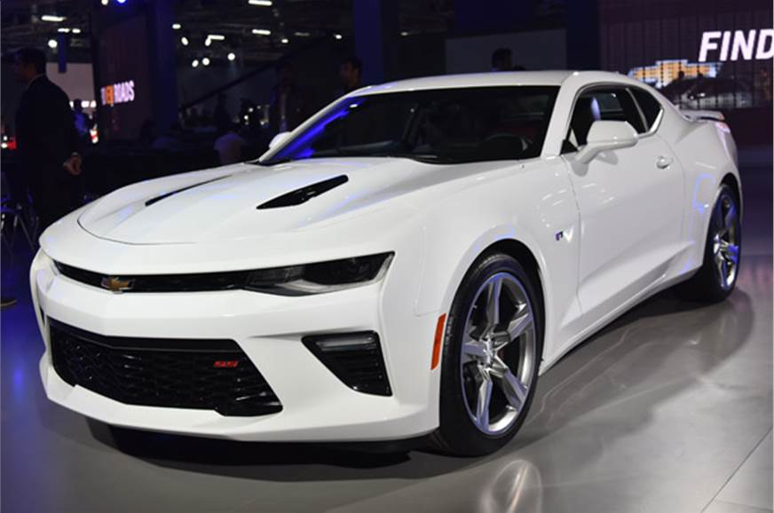 Chevrolet camaro and corvette showcased at auto expo 2016 for H and r auto motors