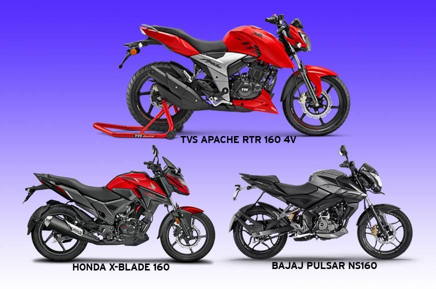2018 TVS Apache RTR 160 4V vs Honda X-Blade 160 vs Bajaj