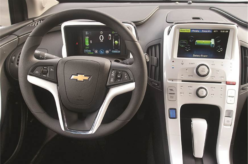 Dash is a mix of high-tech screens and standard Chevrolet...