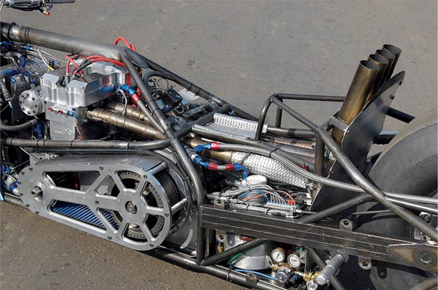 Bespoke chassis places engine and fuel tank towards front...